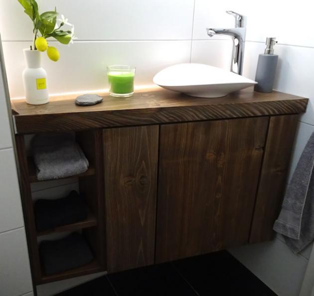 waschtischunterschrank aus holz modern massiv dunkel fichte waschtisch unterschrank. Black Bedroom Furniture Sets. Home Design Ideas