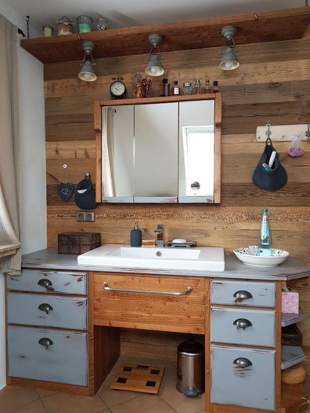 Waschtischunterschrank, used, look, Landhaus, weiß, stehend ...