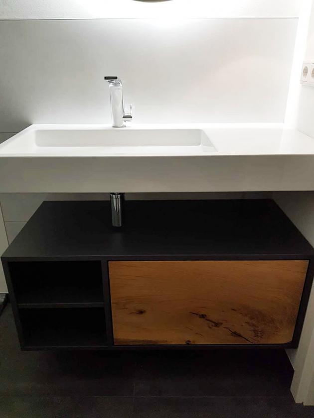 Waschtisch Asteiche / Anthrazit Dekor,  zwei Schubkasten und zwei Fächern